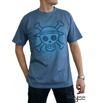 """T-shirt One Piece """"Skull with map Used"""" homme stone blue"""